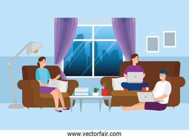 scene people working at home in living room