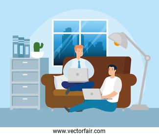 scene men working at home in living room