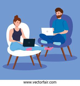 couple working in telecommuting sitting in chairs