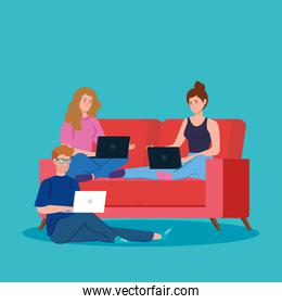 young people working in telecommuting