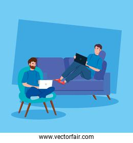 men working in telecommuting avatar characters