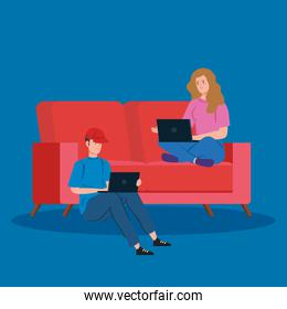 couple working in telecommuting sitting in couch