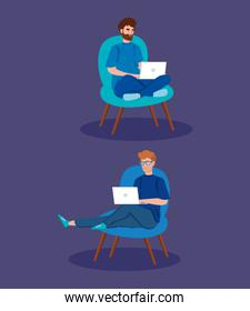men working in telecommuting sitting in chair