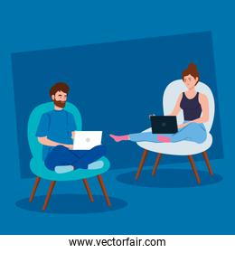 couple working in telecommuting sitting in chair