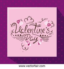 happy valentines day card with decoration