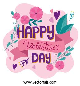 happy valentines day card with flowers decoration