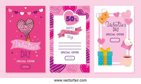set of happy valentines day cards with offer