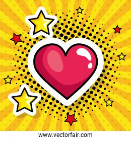 heart with stars pop art style icon