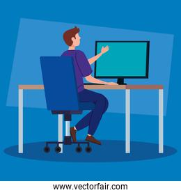 man working in telecommuting with desk and computer