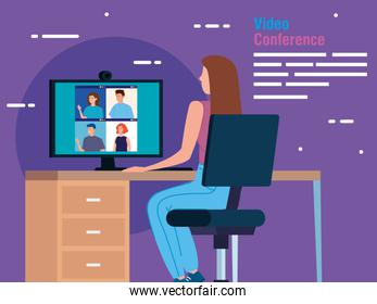 woman in video conference from the computer