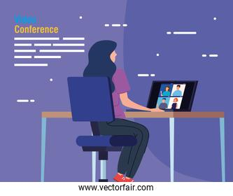 woman in video conference from the laptop