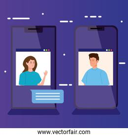 people in video conference in smartphone