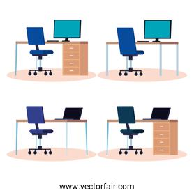 set of workplaces with desks and chairs