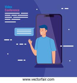 man in video conference in smartphone