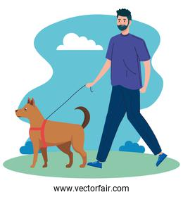 man walking your dog in the park