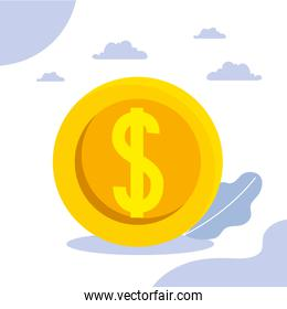 Money coin and clouds vector design