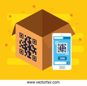 qr code inside smartphone and box vector