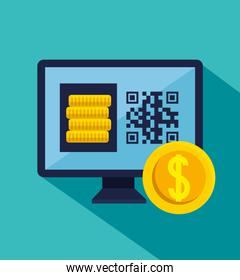 qr code inside computer and coins vector design