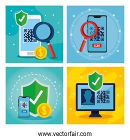 qr code inside smartphones lupe shield and computer vector design