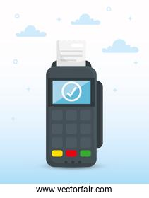 Isolated money dataphone and clouds vector design