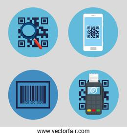 qr code inside smartphone lupe and dataphone vector design