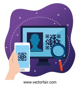 qr code inside smartphone lupe and computer vector design