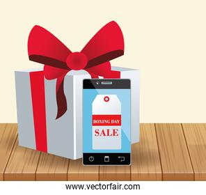 Gift box and cellphone with sale tag