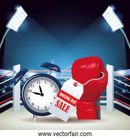 Boxing ring with alarm clock and boxing glove with sale tag, colorful design
