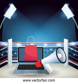 Laptop computer with shopping bag and megaphone over boxing ring background