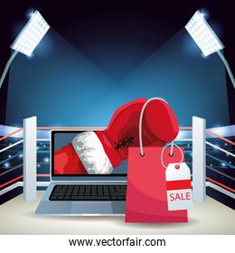Boxing ring with laptop computer with boxing glove and shopping bag