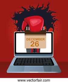 Laptop computer with boxing glove holding a calendar over red background, colorful design