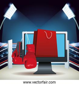 Boxing ring with online boxing sale colorful design with boxing gloves, computer and shopping bag