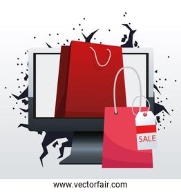 Computer with shopping bags, boxing sale design