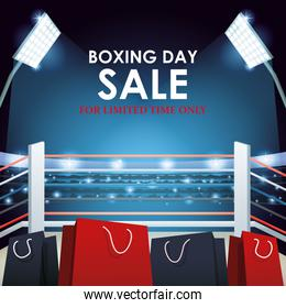 Boxing day dale colorful design with shopping bags on boxing ring background, colorful design