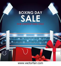 Boxing sale colorful design with gift boxes and shopping bags over boxing ring background