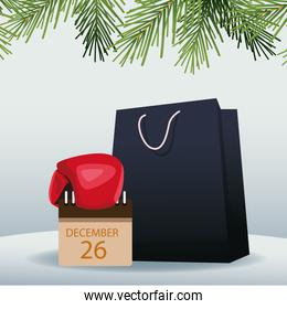 Boxing sale colorful design with shopping bag and calendar with december 26 date over gray background