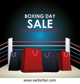 Boxing day dale colorful design with shopping bags on boxing ring background