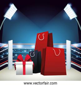 Boxing sale colorful design with shopping bags and gift box over boxing ring background