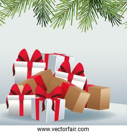 Gift boxes and decorative pine branches over gray background, colorful design