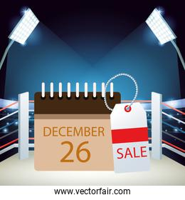 Boxing sale colorful design with calendar with december 26 date and sale tag