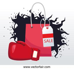 Boxing sale colorful design with shopping bag and boxing glove