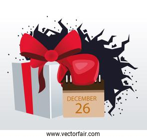 Boxing sale colorful design with gift box and calendar with december 26 date