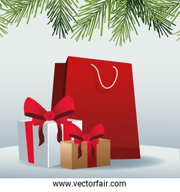 red shopping bag and gift boxes over gray background
