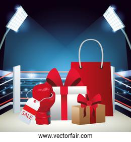 Gift boxes and shopping bag over boxing ring background