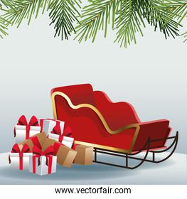 Gifts boxes and sled over gray background