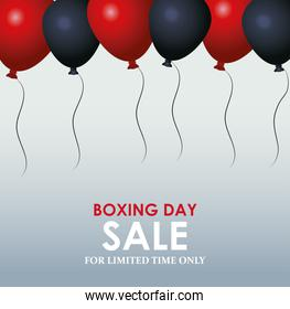 Boxing day sale colorful design with black and red balloons over gray background, colorful design