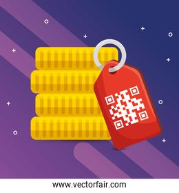 qr code label and coins vector design