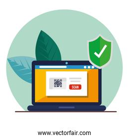 qr code inside laptop and shield vector design
