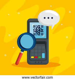 qr code inside dataphone lupe and bubble vector design