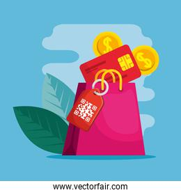 qr code label bag credit card coins and leaves vector design